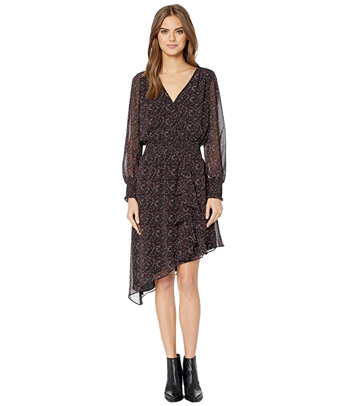 1.STATE  Long Sleeve Asymmetric Hem Baroque Floral Dress (Black Multi) Womens Dress