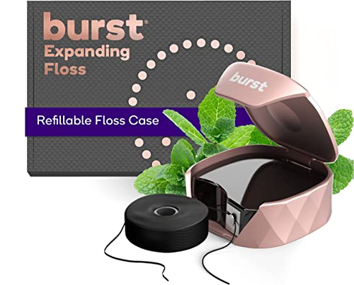 new arrival Burst Refillable Dental Floss Set with Mint Eucalyptus Aroma, Charcoal Coating, discount Textured, Expanding Technology, Vegan, 12 Week Supply (32 Yards), Rose outlet sale Gold [Packaging May Vary] online sale
