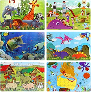 Sitodier Puzzles for Kids Ages 3-8, Six Colorful 60-Pieces Wooden Jigsaw Puzzles for Toddlers, Preschool Educational Learning Toys Set for Boys and Girls (6 Puzzles)