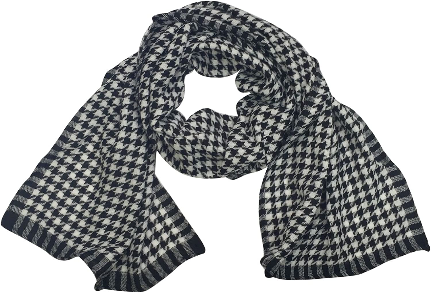 Houndstooth Print Medium Weight Knit Poly Wrap Scarf