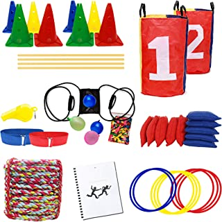 FERS Obstacle Course Set | Relay Race Games | Works Indoor or Outdoor | Ring Toss & Birthday Party Games | 50ft Tug of War Rope | Race Bands | Sack Races | Agility Hurdle Cone Set | Balloon Launcher
