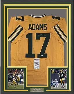 Framed Autographed/Signed Davante Adams 33x42 Green Bay Packers Yellow Football Jersey JSA COA