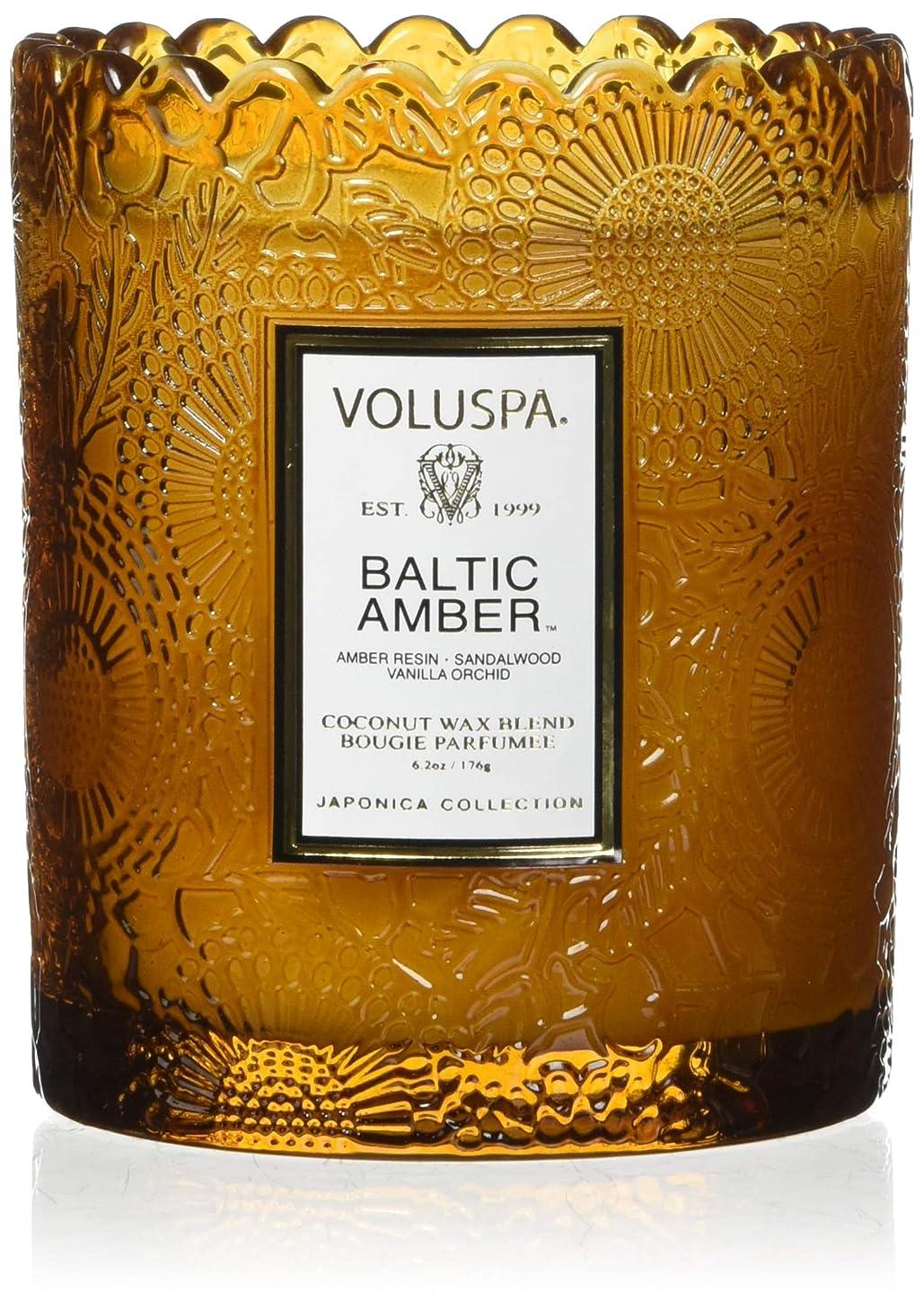 ネズミに対応する請負業者Voluspa ボルスパ ジャポニカ リミテッド スカラップグラスキャンドル  バルティックアンバー BALTIC AMBER JAPONICA Limited SCALLOPED EDGE Glass Candle