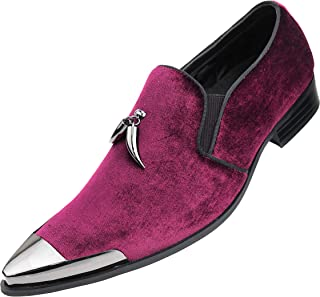Amali Men's Metal Tip Loafer Slip-On Dress Velvet Shoe with A Dark Metal Silver Tip and Matching Sterling Metallic Horn Shaped Tassel, Smoking Slipper, Style Corwin