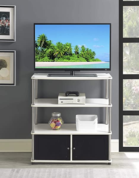 Convenience Concepts 151239W Designs2Go Highboy TV Stand White Black Doors
