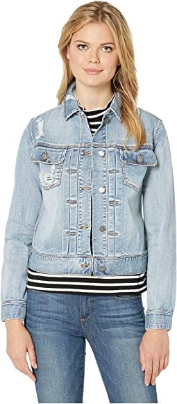 Pleated Front Denim Jacket in Vintage Super Comfort Stretch Denim