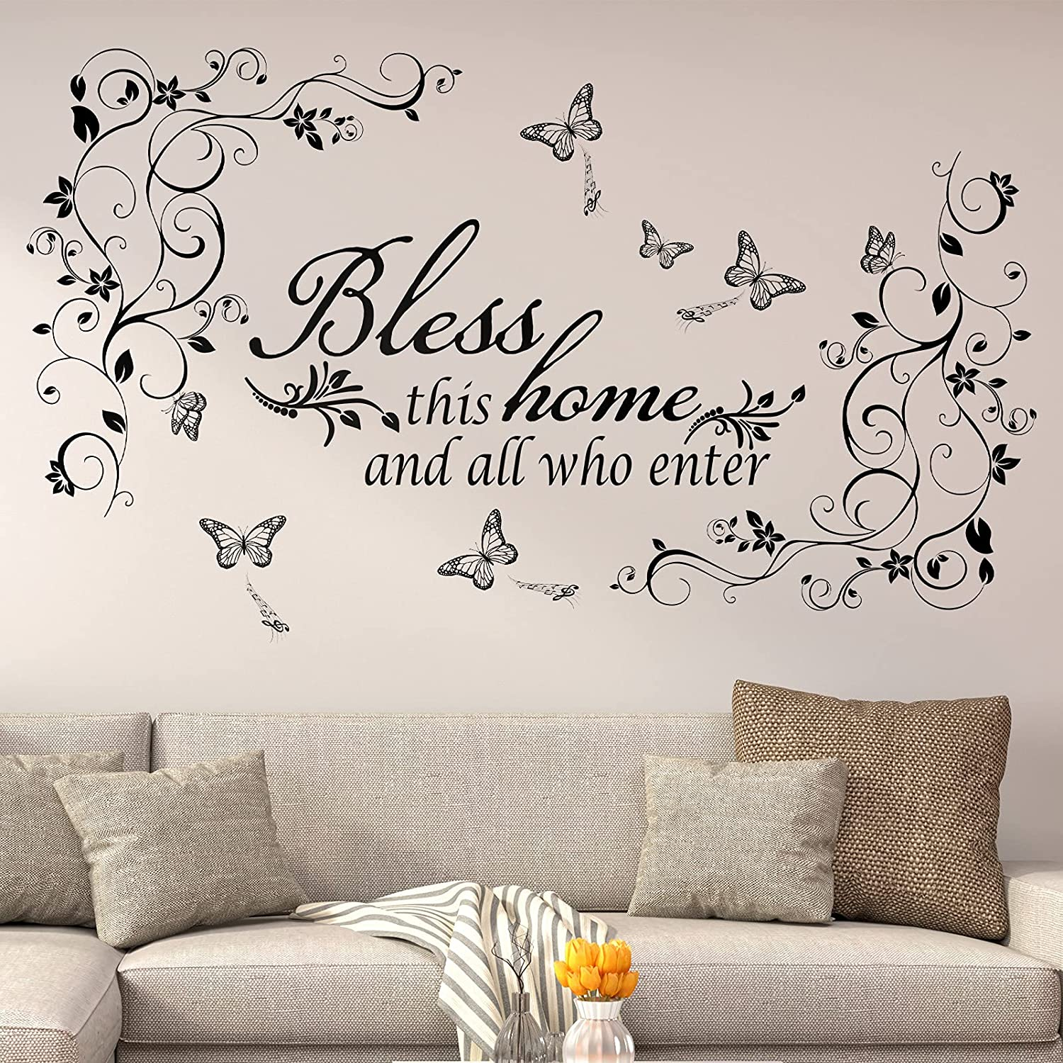 Vinyl Wall Quotes Bless This Home and All who Enter Wall Decals Removable Vinyl DIY Black Flowers Vine Wall Stickers Beautiful Butterfly Wall Sticker Murals Peel and Stick Art for Home Living Room: Kitchen & Dining