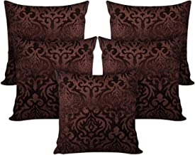 IVAZA New Premium Abstractive Design Velvet Cushion Cover Set of 5 40 X 40 Cms Brown