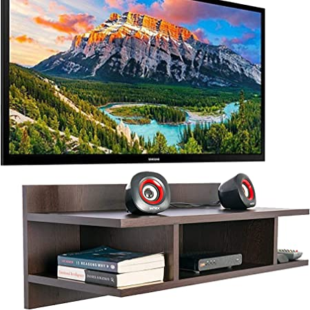 Furniture Cafe Wooden TV Cabinet Wall Shelves, Smart LED TV Entertainment Unit Set Top Box Stand | TV Stand Wall Shelf for Living Room Stylish | Hanging Rack Organizer | Home Decor Furniture (Colour- Brown)