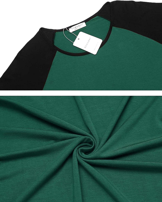 Ekouaer Womens Pajama Set Short Sleeve Ladies Nightwear Sets Shorts Dark Green XL