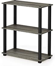 FURINNO Turn-S-Tube 3-Tier Compact Multipurpose Shelf Display Rack, Square, French Oak Grey/Black