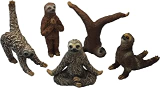 "Bella Haus Design Yoga with Sloths Figurines Set of Five Sloth Statue Action Figures, Sloth Yoga Decor- 3"" Sloth Yoga Poses"