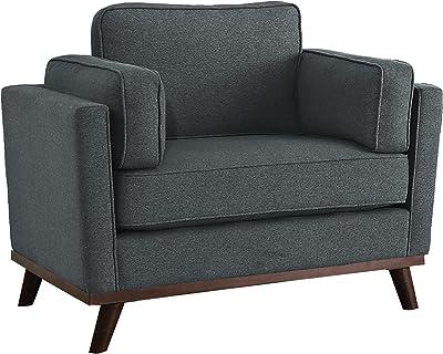 Homelegance Bedos Living-Room Arm, Gray Fabric Upholstered Chair