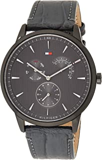 Tommy Hilfiger Men'S Grey Dial Grey Leather Watch - 1710388