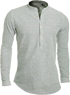 D&R Fashion Men's Casual Henley Shirt Grandad Stand-up Collar Cotton Linen Slim Roll Sleeve