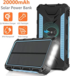 Solar Charger 20000mAh, Qi Wireless Portable Solar Power Bank, Rainproof External Backup Battery Pack with 4 Output&Input, LED Flashlight,Carabiner for Smart Phone,Tablets and More-Blue