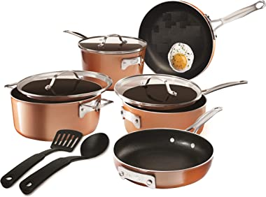 Gotham Steel Stackable Pots and Pans Stackmaster 10 Piece Cookware Set with Ultra Nonstick Cast Texture Ceramic Coating, Copp
