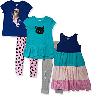 Amazon Brand - Spotted Zebra Girl's 5-Piece Knit Dress, Tunics and Leggings Outfit Sets