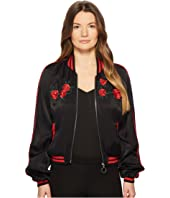 The Kooples - Satin Viscose Blouse Jacket with Embroidery