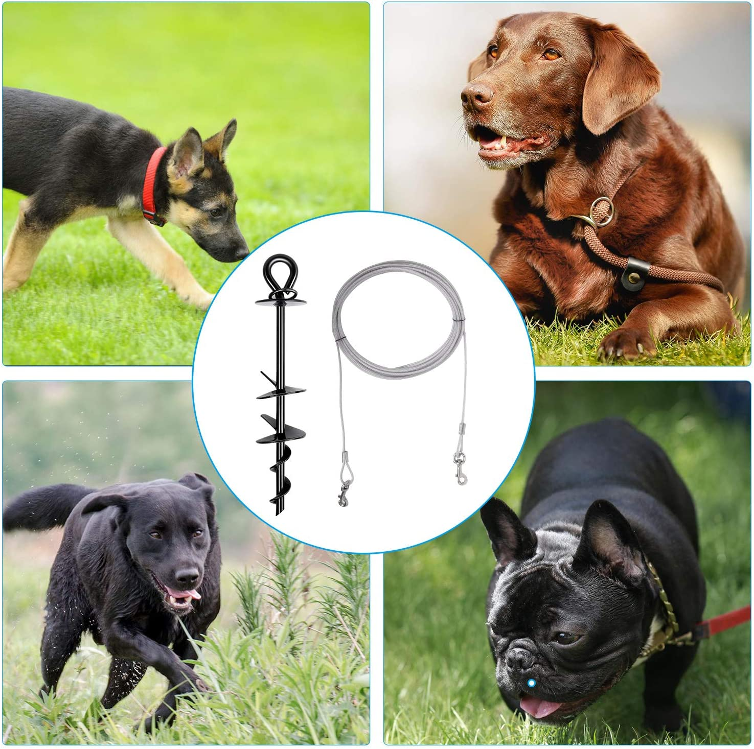 Dog Tie Out Cable and Stake,Heavy Duty Pet Leash Spiral Stakes for Yard Outdoor Camping,Fit for Small Medium Large Dogs,with 30ft Cable and Folding Bowl SIMPLY