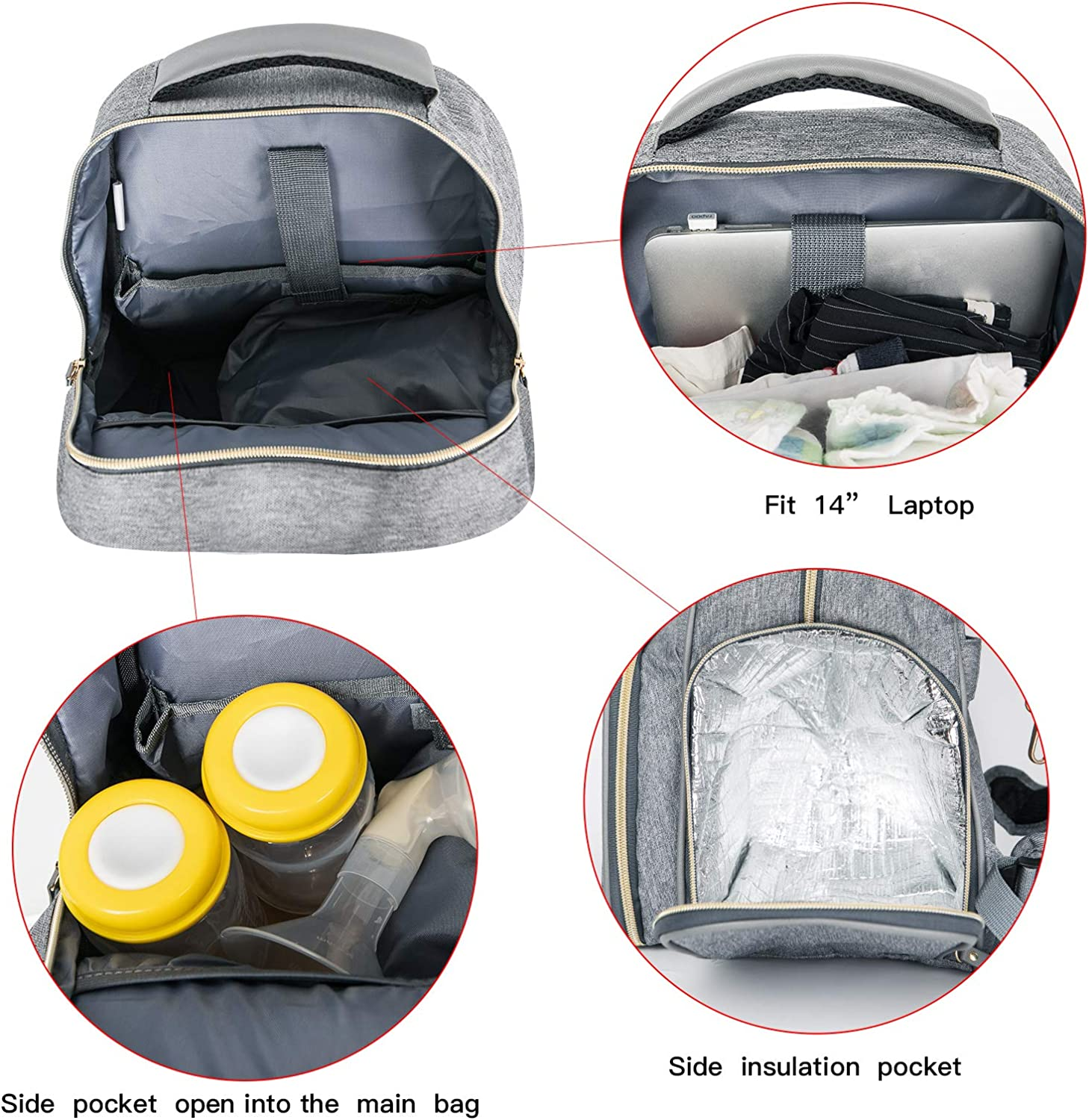 Breast Pump Backpack Diaper Bag - Multi-Function Mommy Outdoor Working Backpack with Insulation Pocket