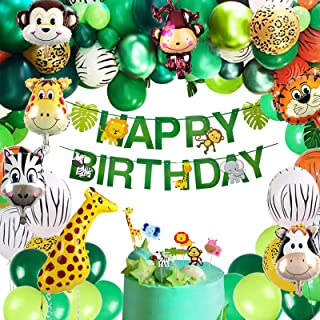 Golray Jungle Safari Birthday Party Supplies Decorations with 82 Balloons Arch, Happy Birthday Banner, Monstera, Cake Topp...