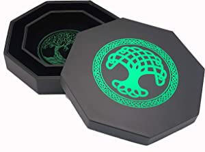 Luck Lab 8 Inch Dice Tray – Green - with Lid and Dice Staging Area for RPG Table Top Gaming- Tree of Life Design