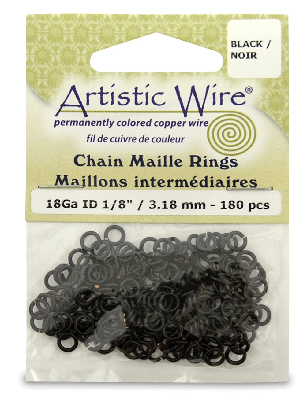 Artistic Wire 18-Gauge Black Chain Maille Rings, 1/8-Inch Diameter, 180-Pieces