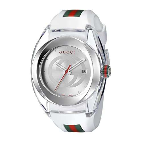 Gucci SYNC XXL White Rubber Strap 46mm Unisex Watch YA137102