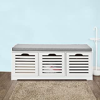 Haotian FSR23-W,White Storage Bench,Shoe Cabinet,Shoe Bench,Storage Cabinet (White)