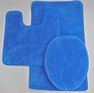 Fancy Linen 3pc Non-Slip Bath Mat Set Solid Royal Blue Bathroom U-Shaped Contour Rug, Mat and Toilet Lid Cover New #Angela
