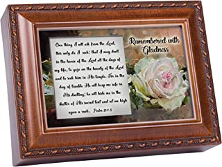 Cottage Garden Remembered with Gladness Woodgrain Jewelry Music Box Plays Amazing Grace