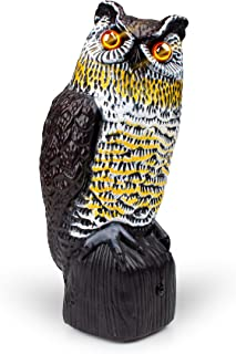 Owl Decoy Bird Deterrent - Scarecrow Fake Owls to Keep Birds Away and Bird Control Garden Owl w/ Solar Powered Owl Eyes and Noise to Scare Birds