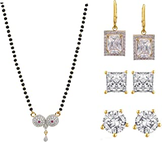 Fashion Jewelry Set of Indian 14 K Gold Plated CZ Mangalsutra Pendant Necklace Stud & Hoop Earrings