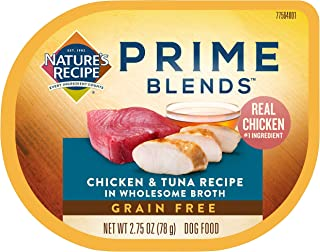 Nature's Recipe Prime Blends Wet Dog Food, Chicken & Tuna Recipe, 2.75 Ounce Cup (Pack of 12), Grain Free