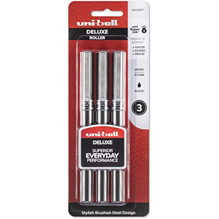 Uni-Ball Deluxe Rollerball Pens 6-Count Fine Point 0.7mm Blue Ink