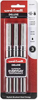 uni-ball Deluxe Rollerball Pens, Micro Point (0.5mm), Black, 3 Count