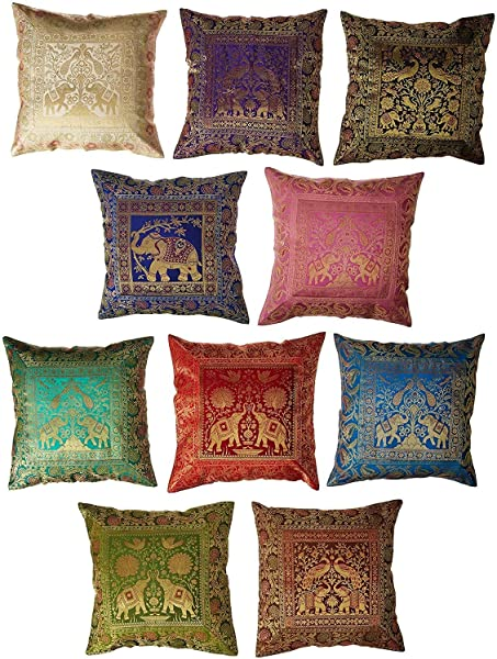 ICRAFTY 10 Pc Lot Square Silk Home Decor Cushion Cover Indian Silk Brocade Pillow Cover Handmade Banarsi Pillow Cover 16 X 16 Inch IC CS FBA1