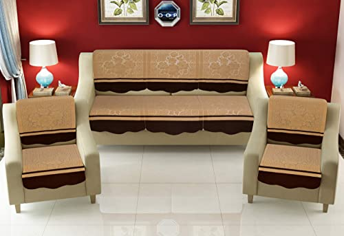 FESTIVAL HOME FURNISHINGS Cotton Fabric Net Sofa Covers for 5 Seater Sofas (10 Pc Set) Beige