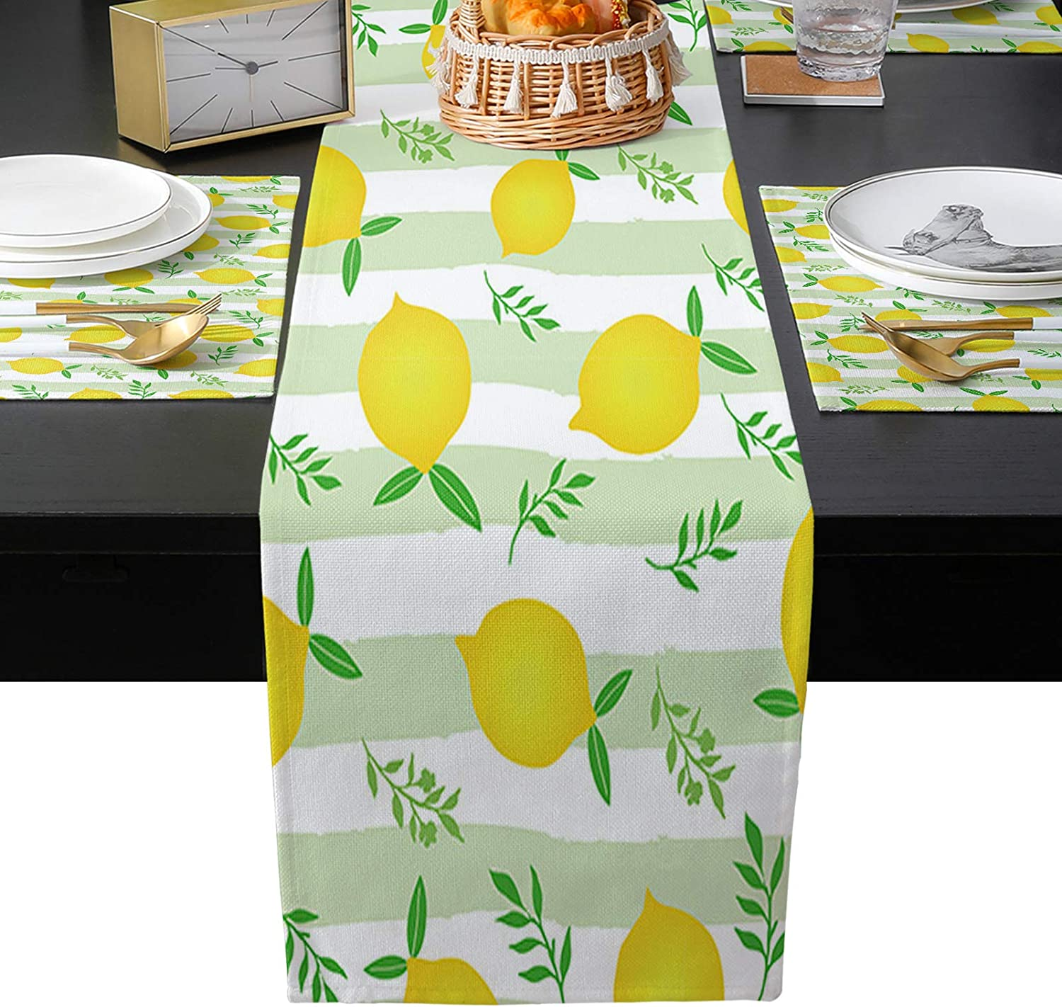 EZON-CH Table Runner and Mats Set 6 Beauty products Watercolor of Rapid rise Country