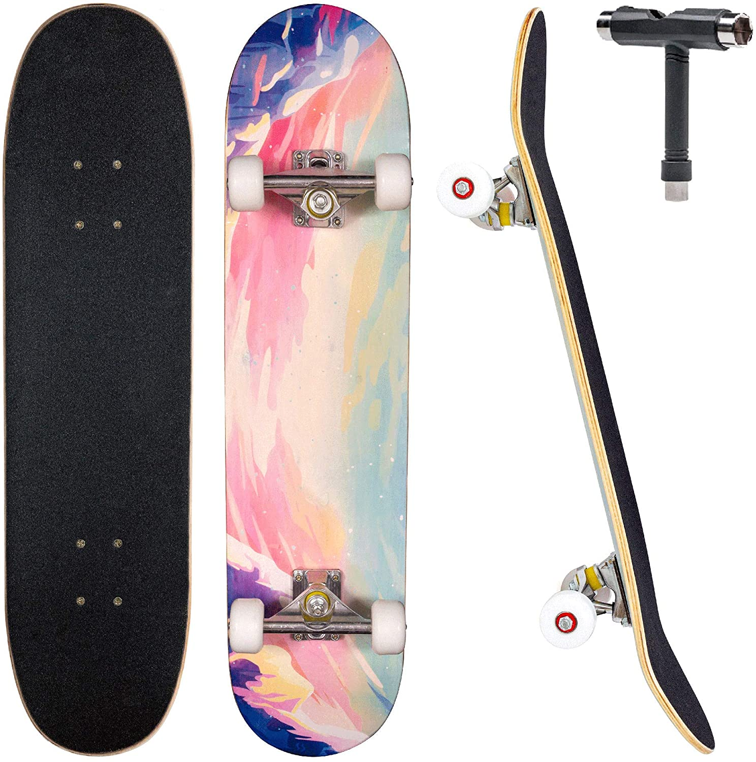 """JECOLOS Pro Complete Skateboards for Beginners Adults Teens Kids Girls Boys 31""""x8"""" Skate Boards 7 Layers Deck Maple Wood Longboards (Forest) : Sports & Outdoors"""