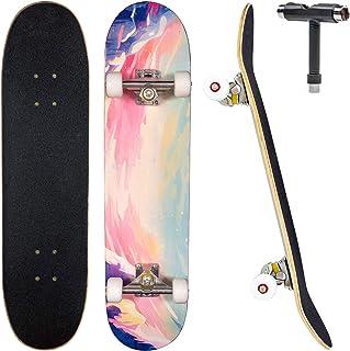 "JECOLOS Pro Skateboard Complete 7 Layers Deck 31""x8"" Skate Board Maple Wood Longboards for Adults Teens Youths Beginners Girls Boys Kids"
