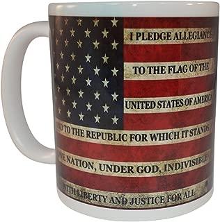 Patriotic USA Flag Funny Coffee Mug Novelty Cup Gift America Pledge of Allegiance