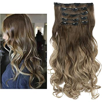 "SARLA 20"" 7Pcs Full Head Wavy Curly Clip In Ombre Brown to Ash Blonde Hair Extensions Balayage Synthetic Heat-Friendly Fiber Hairpiece 999#10T16"