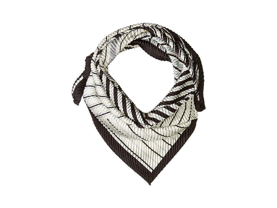 Echo Design Stripes On Stripes Pleated Diamond Shape Scarf (Black) Scarves