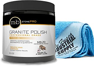 MB-20 Stone Granite Polishing Kit 8.5 Oz Granite Polishing Compound - 16x16 Microfiber Cloth - BUNDLE - 2 Items