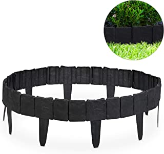 Relaxdays, Gris Oscuro Valla de jardín Decorativa, Set de
