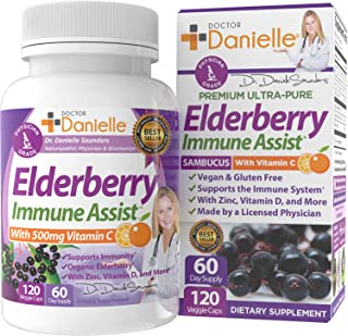 Best 7 in 1 Immune Support Booster Supplement with Elderberry Sambucus, Vitamin C, Zinc, Organic Elderberry - Dr. Danielle...