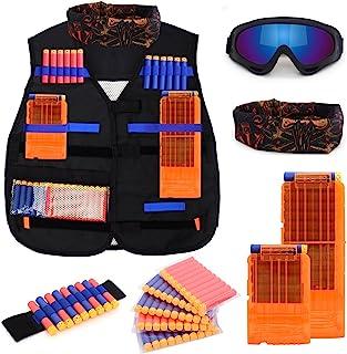 Kids Tactical Vest Kit for Nerf N-strike Elite Series with 50 Bullets Refill Darts + 2..