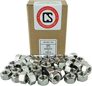 Stainless 3/8-24 Hex Nut, 304 Stainless Steel, SAE Fine Thread, 50 Pieces (3/8-24 Hex Nuts)
